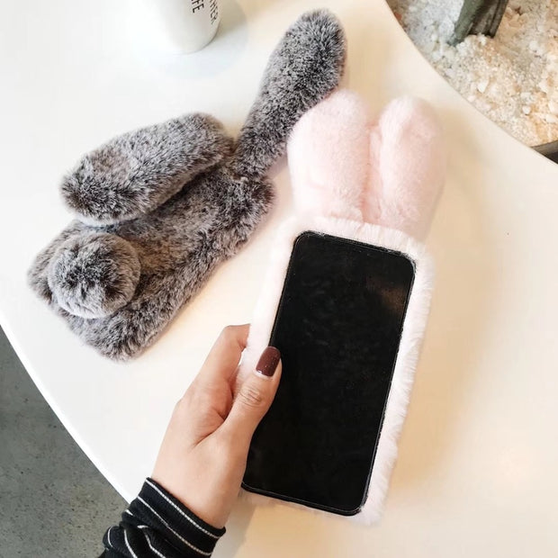 Explosion Plush Rabbit Ears Capinha Case For IPhone XS XR XS Max X 6 7 6 S 7plus 8plus 6sPlush Metal Cover Warm Hands Capa Ipone