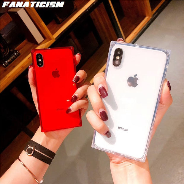 Fanaticism Top Quality Square Clear Phone Cases For IPhone XR X XS MAX 6 7 8 Plus Soft TPU Silicone Anti-knock Transparent Cover