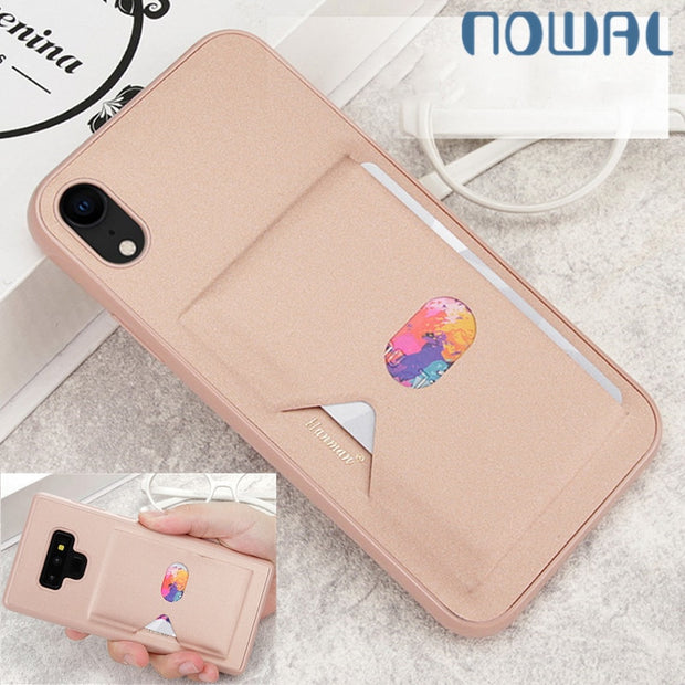 Fashion Card Slots Holder Case For IPhone XS Max X XR 6 6S 7 8 Plus For Samsung Note 9 8 S8 S9 Plus A8 Soft Silicon Bumper Cover