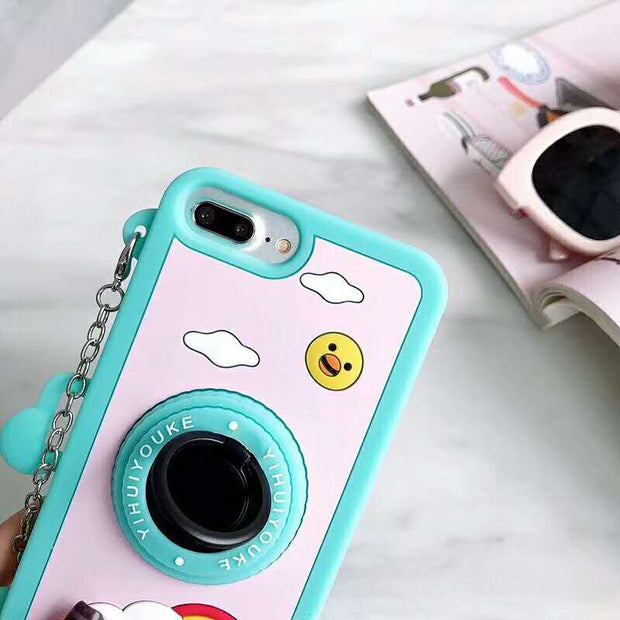 Fashion Cute Camera 360 Rotating Stand Cases For IPhone X Xr Xs Max Silicone Crossbody Strap Case For IPhone 6 6s 7 8 Plus Cover