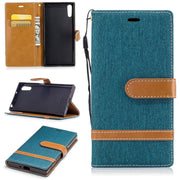 Fashion Denim Stitching PU Leather Case For Sony Xperia XA1/XZ XZS Skin Shell Stand Flip Cover Mobile Wallet Capa Lanyard Fundas