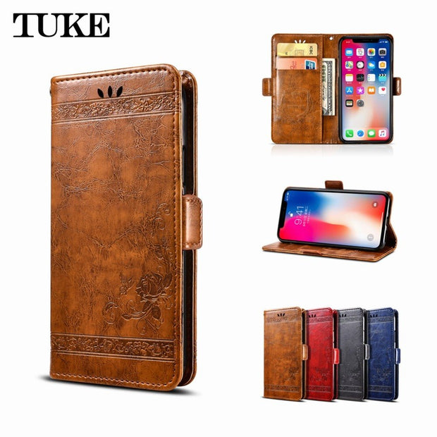 Flip Case For Vivo Y81 Y83 Phone Case Embossed Flower Wallet Oil Wax Leather Case For Vivo Y81 Y83 Housing Shell No Fingerprint