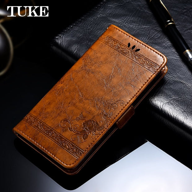 Flip Case For Vivo Y85 Phone Case Embossed Flower Wallet Oil Wax Leather Case For Vivo Y 85 Housing Shell