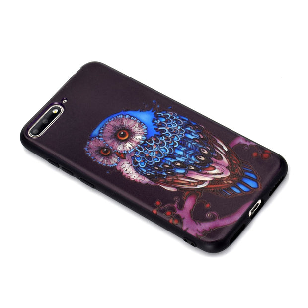 Flower Pattern 3D Soft TPU + IMD Diamond Case For Huawei Ascend Y6 2018 Honor 7A Violet Case For Huawei Y6 2018 Enjoy 7A Fundas