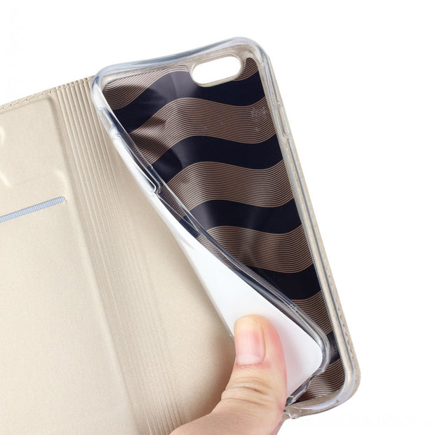 For Apple Iphone 6 Plus & Iphone 6s Plus Wallet Leather Case Magnetic Kickstand Slim Book Protective Shell Cover