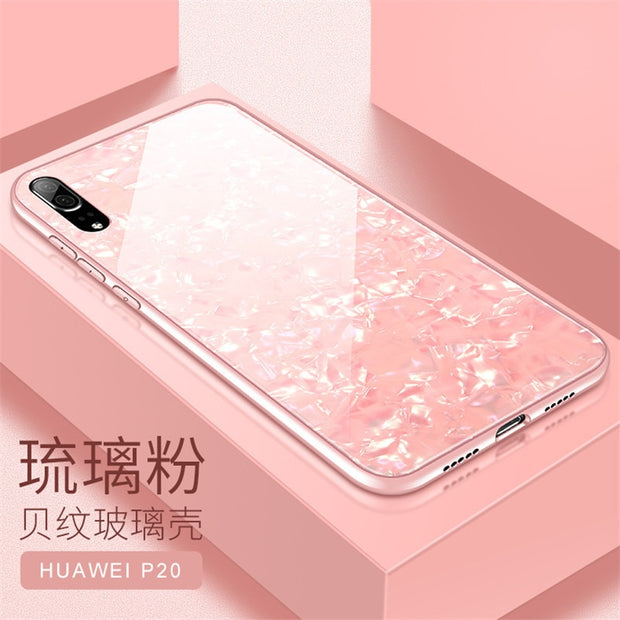 For Case On Huawei P20 Lite Cases Cover For Coque Huawei P20 Pro Silicone Tempered Glass Hard Hybrid Back Shockproof Pink Luxury