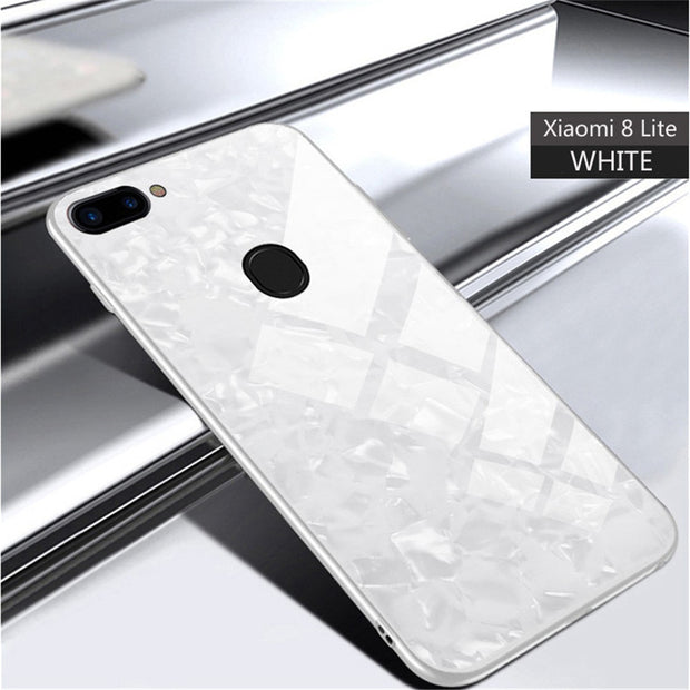 For Coque Case On Xiaomi 8 Lite Cases Ksiomi Xiomi Mi 8 Lite Cover Hard Tempered Glass Silicone Black Accessories Marble Luxury