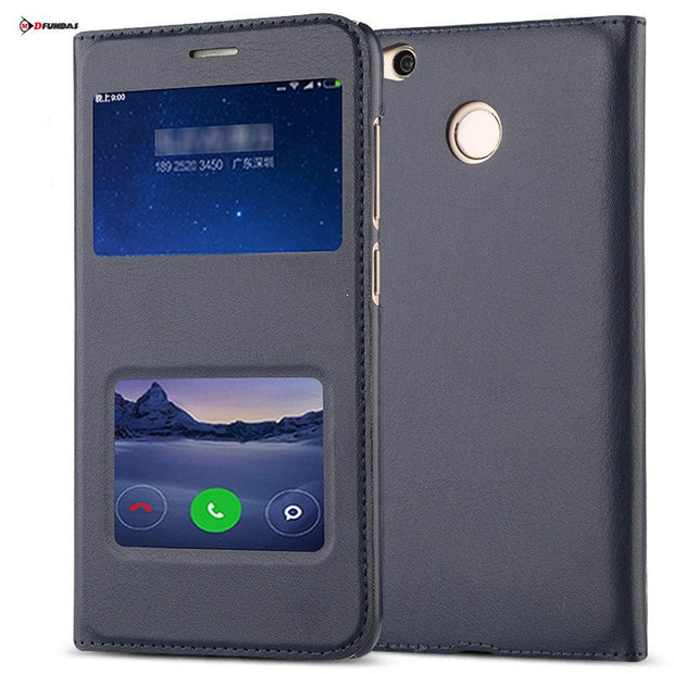 For Coque Case On Xiaomi Redmi 4x Cases Xiomi Redmi 4x Cover Flip Leather Plastic Luxury Black 5.0 Thin View Window Shockproof