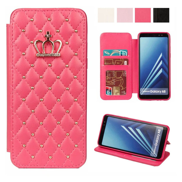 For Cover Samsung A8/A8 Plus With Diamond Bling Flip Leather Wallet Case Cover For Coque A8 Plus Phone Case With Card Slots