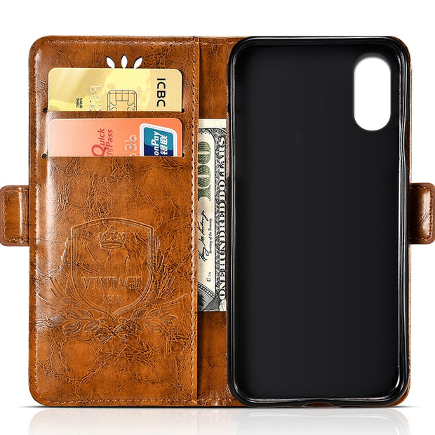 For Doogee X55 PU Leather Flip Cover Protectiv Phone Case With Card Slot Cash Clip Magnetic Closu For Doogee X55