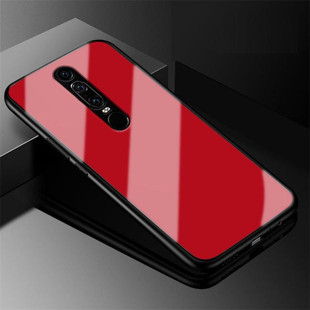 For HUAWEI Mate RS Design Glass Back Cover Case Hard PC Shell With Soft Edge For Mate RS Red