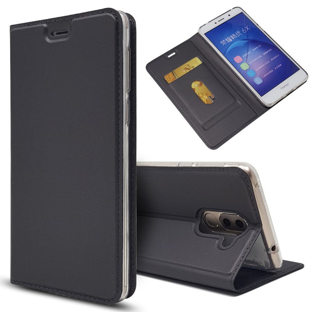 For Huawei Honor 6X Flip Case Magnetic Book Card Kickstand Protective Mate 9 Lite Shell Wallet Leather Cover