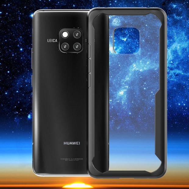 For Huawei Mate 20 / 20 Pro Case Shockproof Bumper Silicone PC Transparent Clear Cover Luxury Armor Phone Case Protective Shield