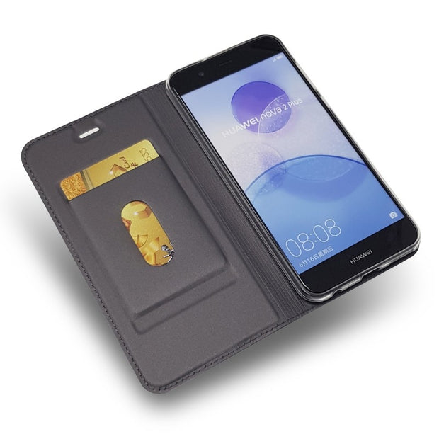 For Huawei Nova 2 Plus Flip Case Magnetic Book Wallet Leather Case Protective Shell Cover