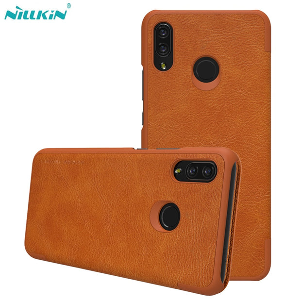 For Huawei Nova 3i Leather Case NILLKIN Qin Series Wallet Flip Cover Case For Huawei P Smart+ Genuine Flip Leather Phone Bags