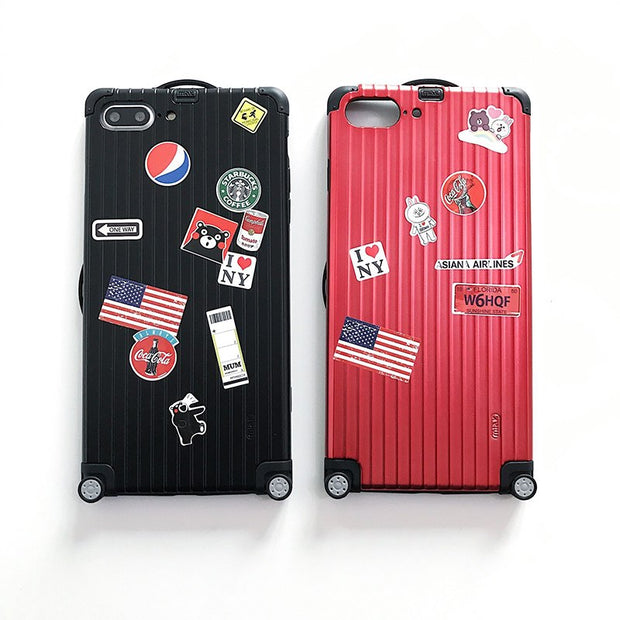 For IPhone XS Case Funny Street Luggage Suitcase Cover For IPhone X 7 8 6 6s Plus Travel Bag Lovers Letters Stick Soft Edge Case