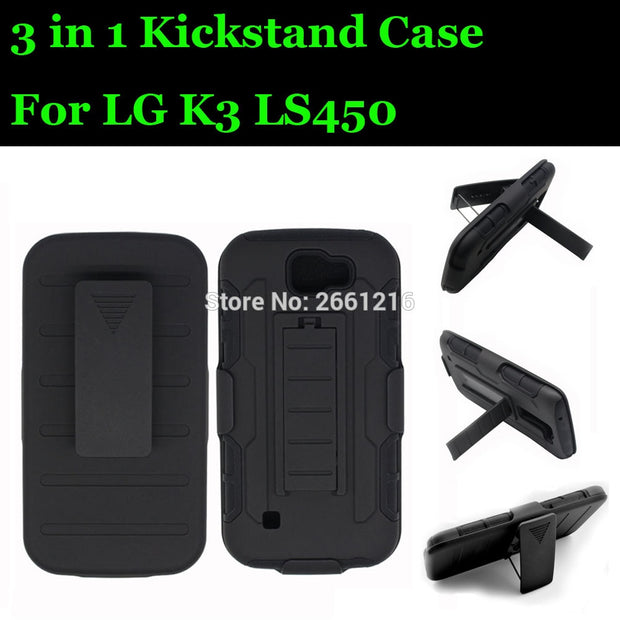 For LG K3 LS450 Shockproof Future Armor Belt Clip Holster Case With Kickstand Cover For LG K3 LS450 (With Flashlight) 4.5 Inch