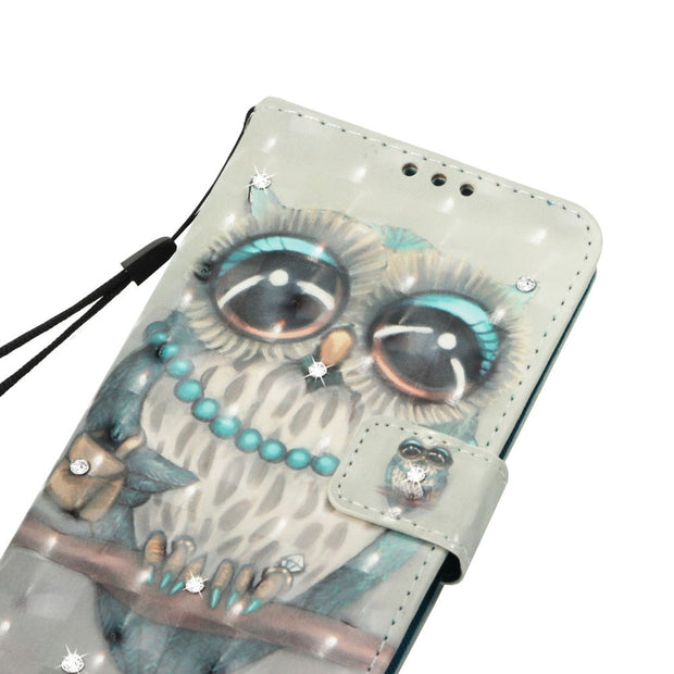 For MOTO E4 MOTOG5(US Version) & Moto E4 (EU Version ) Funda Luxury Point Drill Cartoon Paint PU Leather Case