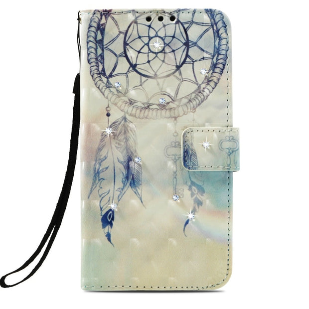 For Oneplus 5T & OnePlus 5 & Oneplus 6 Funda Luxury Point Drill Cartoon Paint PU Leather Case For Oneplus 5 5t 6 Cellphone Bag