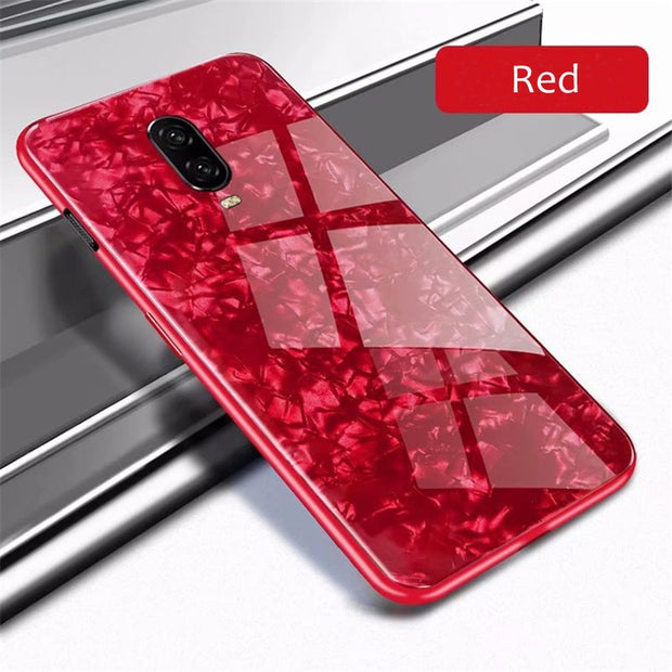 For Oneplus 6T Oneplus6T Cases On One Plus 6T Case Cover Back Hard Tempered Glass TPU Luxury Cute Girl Shell Pink Slim Shell Red