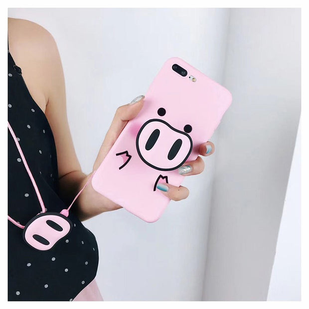 For Pink Cartoon Pig Airbag Bracket Phone X/6sp Mobile Phone Shell Phone 8/7plus All-Inclusive Silicone Lanyard Shell