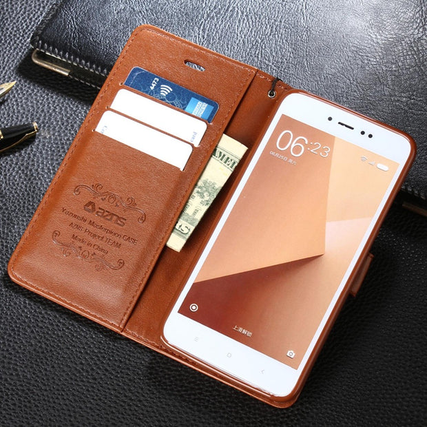 For Redmi Note 6 Phone Case Retro PU Leather Magnetic Flip Cards Slot Wallet TPU Inner Protective Cover For Redmi Note 2 3 4 5A