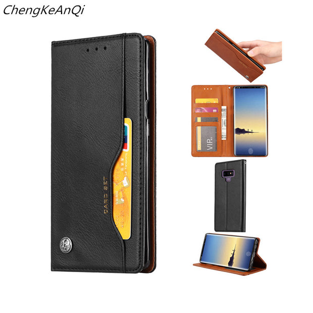 For Samsung Galaxy Note 9 Case Flip Wallet PU Leather Case Phone Bags Card Slots Photo Frame Soft TPU Cover For Samsung Note 9