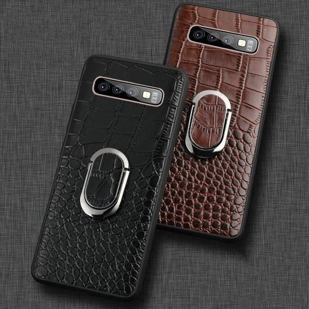 For Samsung Galaxy S10 Case Genuine Leather Armor Car Magnetic Ring Holder Cover For Samsung S10 Lite S10 Plus Case
