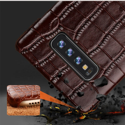 For Samsung Galaxy S10 Genuine Leather Phone Case Leather Capa For S10Plus Crocodile Texture Back Cover For Galaxy S10e