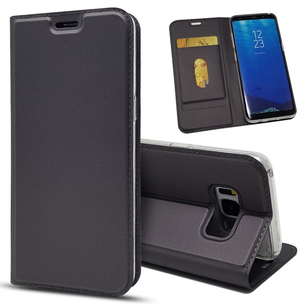 For Samsung Galaxy S8 Plus Flip Leather Case Magnetic Wallet Kickstand Card Book Protective Shell Cover