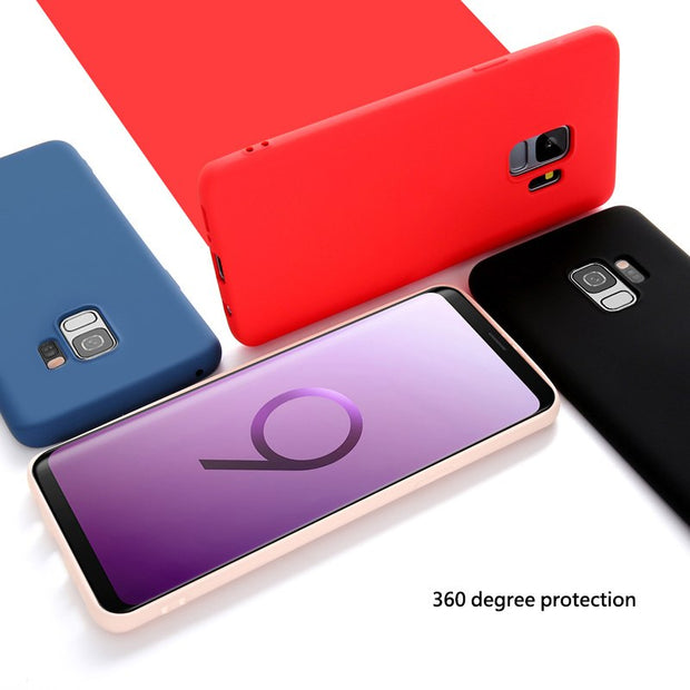 For Samsung Galaxy S9 Plus Case Solid Color Soft TPU Cases Luxury Silicone Case For Samsung Galaxy S9 S9 Plus Back Cover Coque