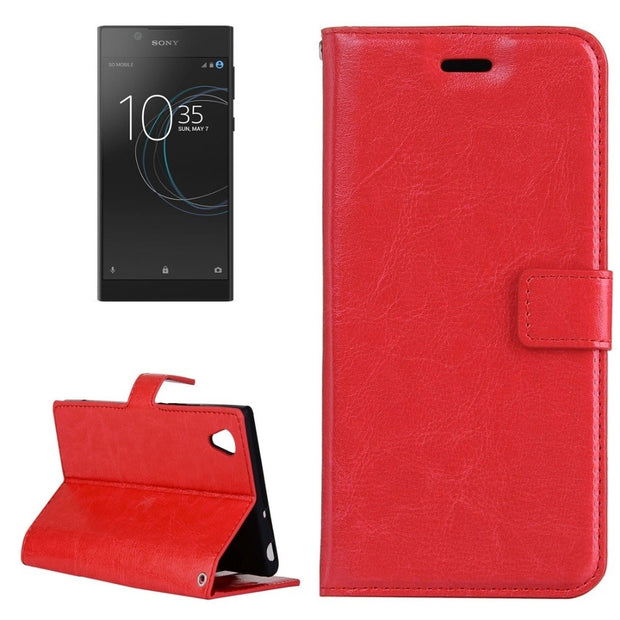 For Sony Xperia L1 Crazy Horse Texture Horizontal Flip Leather Case With Holder Wallet Card Slots Phone Cover Cases