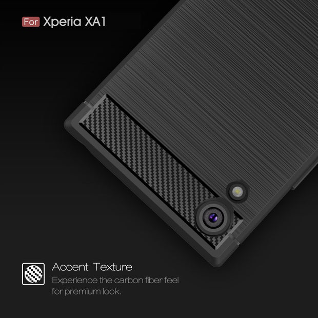 For Sony Xperia XA1 Brushed Case Coque Sony XA1 Silicone Case Carbon Fiber Soft Armor Cover For Xperia XA 1 360 Full Protector