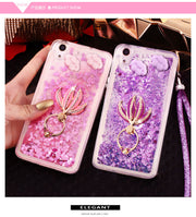 For Xiaomi Redmi 6 6 Pro 6A Case Silicone Liquid Glitter Soft TPU With Flower Finger Ring&Hang Strap Case For Redmi 6A 6 Pro
