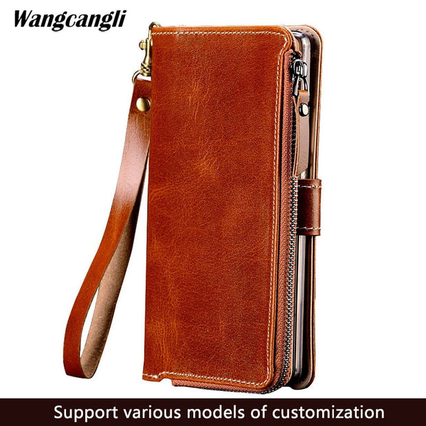 For Huawei P 20 Lite Leather Wallet Phone Case Handmade Zipper Full Coverage Phone Protective Shell For Huawei P10 P20 Pro Case