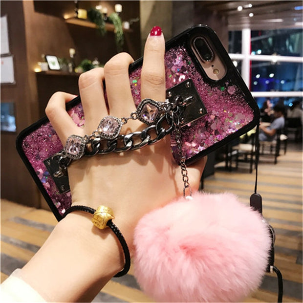 For IPhone 5 5S SE 6 7 8 6plus 7plus 8plus X XS Max XR Luxury Quicksand Chain Tassel Fox Puff Pompoms Fur Ball Soft Mirror Case