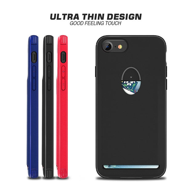 For IPhone 6 7 8 Soft TPU Cases With Card Slot Holder Ultra Thin Design Candy Color Back Cover Gel Case For IPhone 6/7/8 Plus