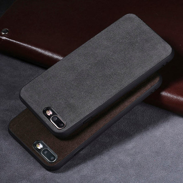 For IPhone 7 7P Case Genuine Leather Cases For IPhone 6 8 Plus Cover For IPhone 8 X 5S SE 6S Suede Leather Phone Cover