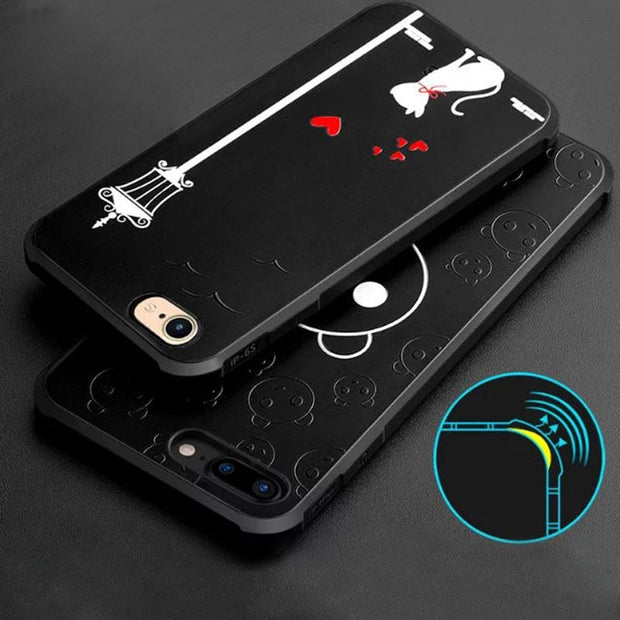 For IPhone 7 Cartoon Case 7 Plus Silicone Cover 3D Relief Anti-Shock Hybrid Back Cover Silicon Cases Mobile Phone Accessories
