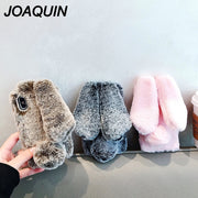 For IPhone 7 Case 3D Cute Rabbit Hairy Warm Fur Bling Rhinestone Plush Bunny Case Cover For IPhone XS 6 6S 8Plus XR MAX