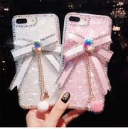 For IPhone 8 Plus Case Cute Bling Luxury Bowknot Tassels Diamond Phone Cover For IPhone X Case Soft TPU Coque Funda Cover