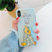 For IPhone X 6 6S 7 7plus 8 8 Plus Lovely Cartoon Winnie Pooh Blu-ray Case Phone Case For IPhone XS Phone Bag Case For IPhone X