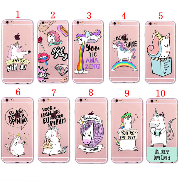 For IPhone X 8 7 6 6S Plus 5 5S SE 5c Cute Horse Rainbow Unicorn Transparent Clear Plastic Hand/soft TPU Case Cover