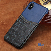 For Iphoen 7 Plus Case Insert Card Half Package Phone Case Crocodile Pattern And Wax Leather Mixed Color Mobile Phone Case