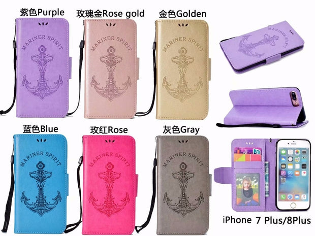 For Iphone X 8 Plus Sailor Phone Case Protective Shell TPU Leather Case Mobile Phone Holder Storage Card Pack For Iphone 6/7/8/X