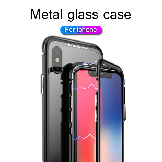 For Iphone X Glass Case For Iphone 7 8 Plus X Case Luxury Shockproof Magnetic Bumper Cover For IPhone Case 7 6 8 Transparent 360