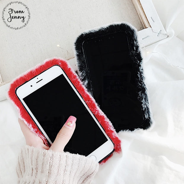 From Jenny Fluffy Fake Fur Winter Phone Case For Apple IPhone 6 6s 7 7plus 8 8plus 10 X Free Shipping