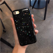 From Jenny New Star Black Glitter Phone Case Cover For IPhone 6 6s 6plus 6splus 7 7plus 8 8plus X Case Soft TPU Capa Coque