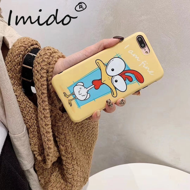 Funny Chicken Print Phone Case For IPhone 6 7 8 Plus TPU Phone Protection Case For IPhone X XS MAX XR Back Cover