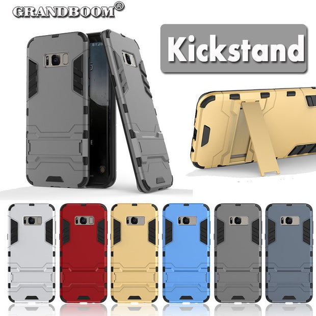 GRANDBOOM Phone Cover For Samsung Galaxy S8 Plus Case TPU + Resistant PC Armor Top Quality Kickstand Protector Hard 50pcs/lot